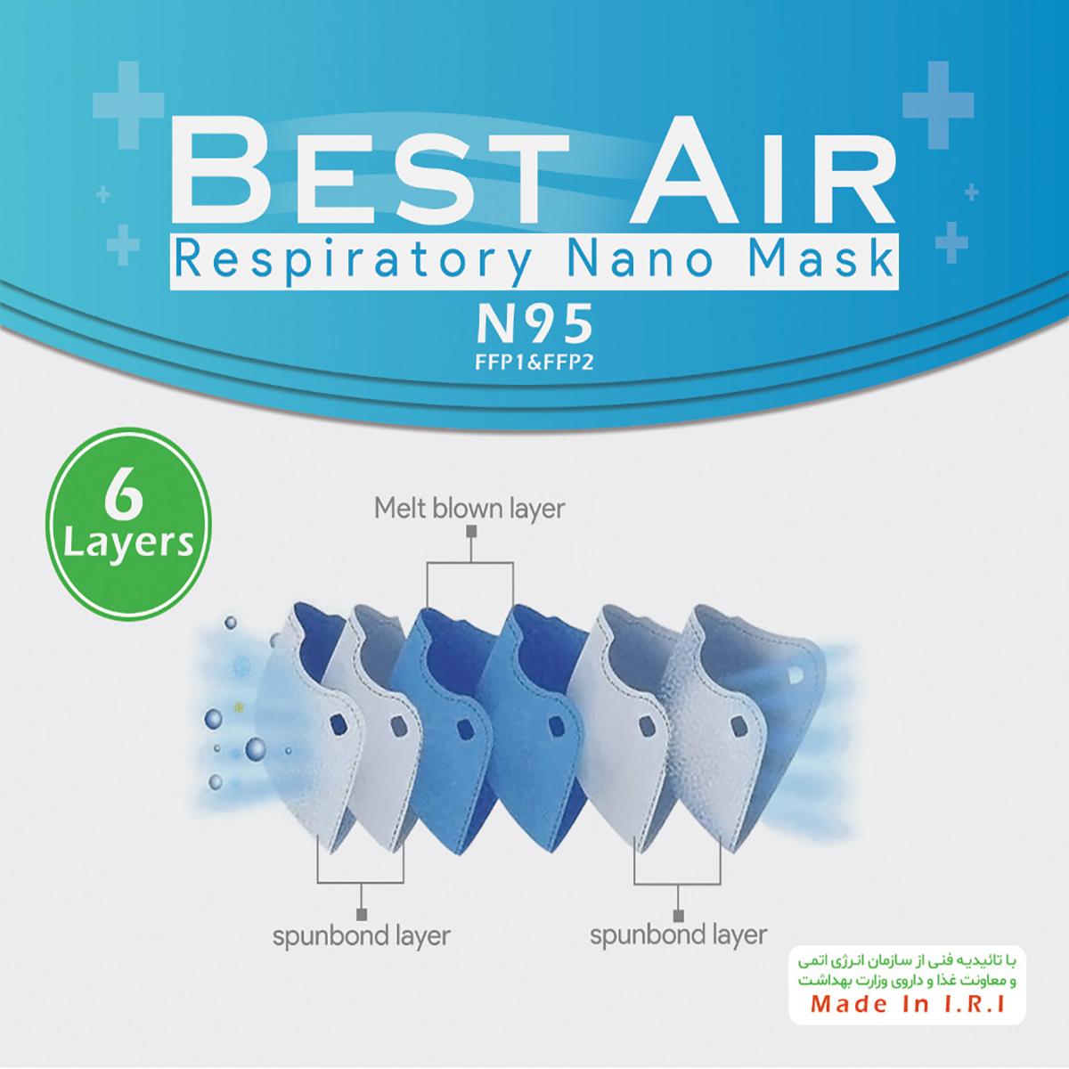 ماسک N95 – مایک شش لایه تنفسی – ۵ عدد